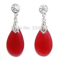 NEW 20X12mm Red Quartzite stone 925 Silver Good Fortune Post Earrings