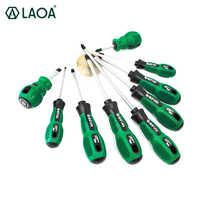 Laoa 6 pces/9 pces chave de fenda conjunto cr-v parafuso driver destornillador chave de fenda com borracha envolvido punho e saco