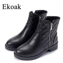 Ekoak New 2016 Fashion Autumn Winter Boots Women Classic Zip Ankle Boots Warm Plush Leather Martin Boots Women Shoes L50