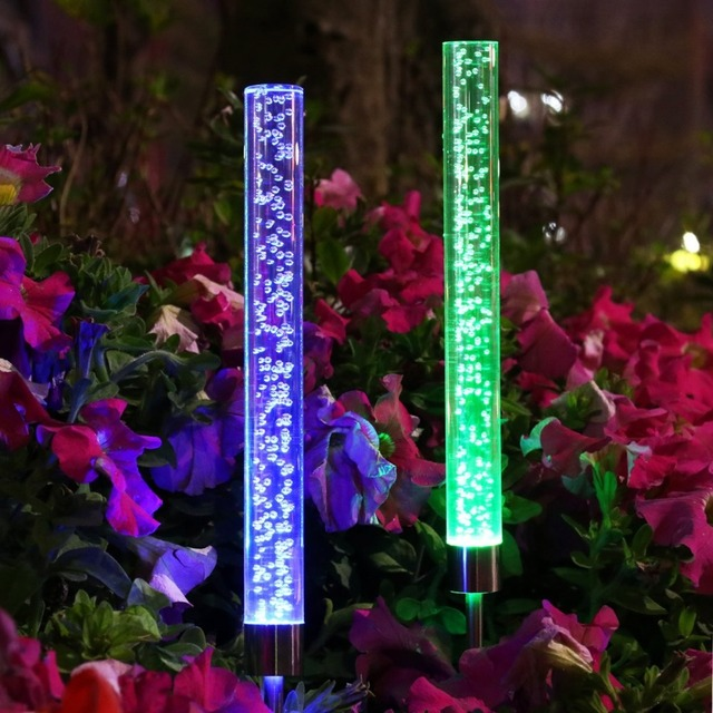 2pcs Solar Garden Lights Outdoor Solar Powered Tube Lights Solar Acrylic Bubble RGB Color Changing Stake & 2pcs Solar Garden Lights Outdoor Solar Powered Tube Lights Solar ...