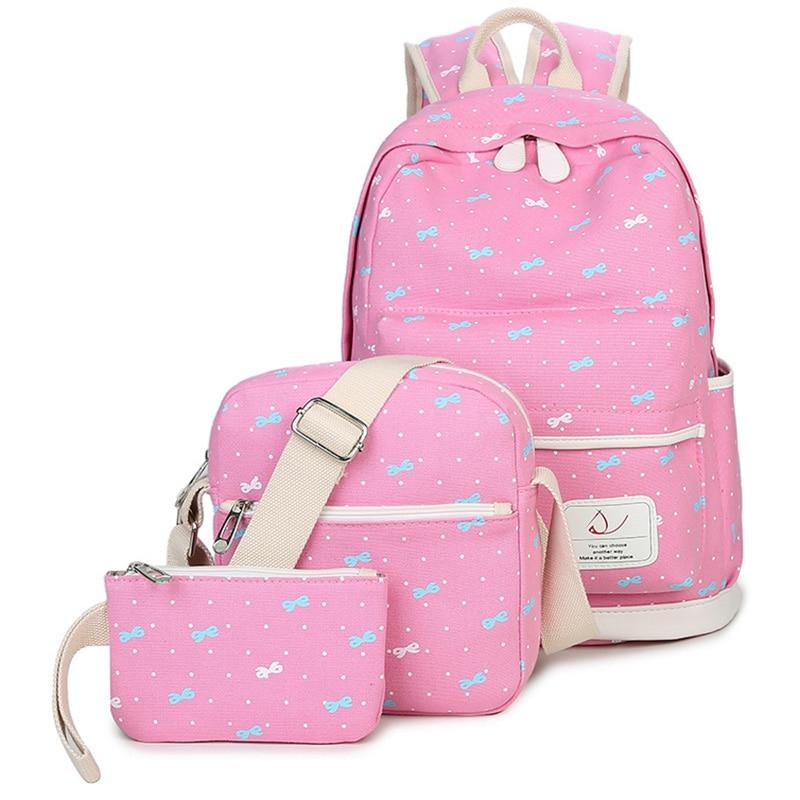 RUIPAI 3pcs/set Canvas Printing Backpack Women School Bag for Teenage Girl Casual Pack Cute Rucksack Shoulder Backpack Fashion