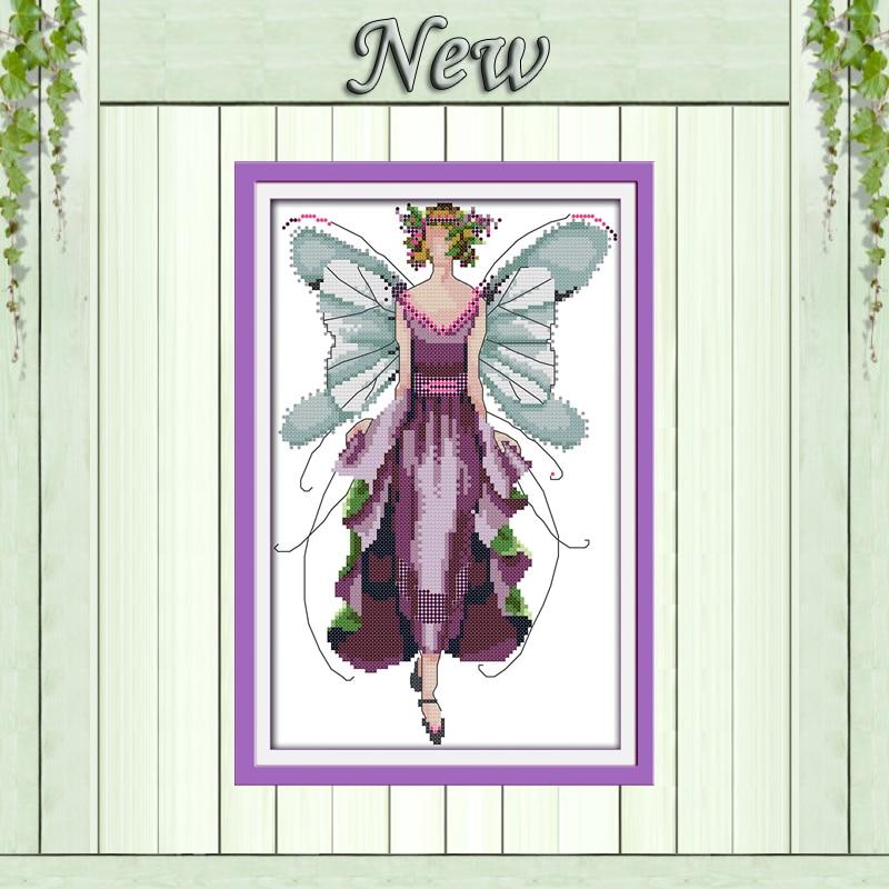 Violet fée belle fille décor peinture compté imprimé sur toile DMC 14CT 11CT point de croix couture ensembles kits de broderie