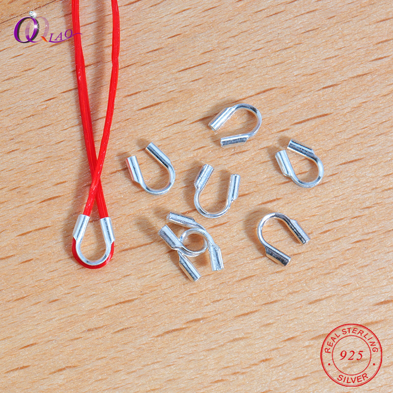 A Pair 4.7mm 925 Sterling Silver Cord Clasps For Bracelet Silver End Clasps Necklace Connector Jewelry Making
