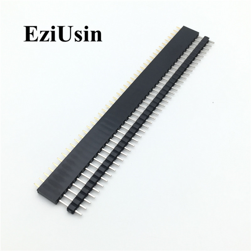 20pcs 10 pairs 40 Pin 1x40 Single Row Male and Female  2.54 Breakable Pin Header PCB JST Connector Strip for Arduino Black 2
