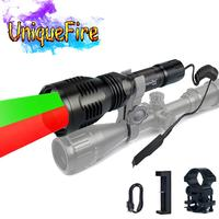 UniqueFire LED Flashlight 3 Modes HS 802 XRE Green and Red Light Coyote Hog Hunting Torch+Tail Switch Barrel Mount+USB Charger