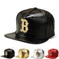 El nuevo Grano Del Cocodrilo gorra de béisbol patrón de diamante de la aleación B palabra sombrero de ala plana sombrero de hip-hop los hombres y mujeres de la marea