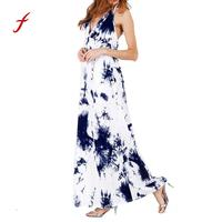 Women Tie dyeing Print Tank Maxi Dress Sleeveless Casual band Summer Dress Fashion Temperament Dress Elegant Vestido