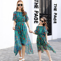 Mother And Daughter Princess Dress Family Matching Clothes Beautiful Bohemian Dresses For Party And Wedding Red