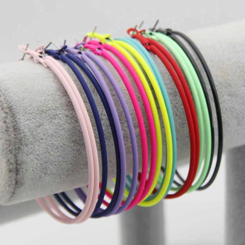 FISHPEACH Trendy 70mm Large Hoop Earrings Neon Color Painted Big Circle Earring Basketball Loop For Women Brincos Gifts