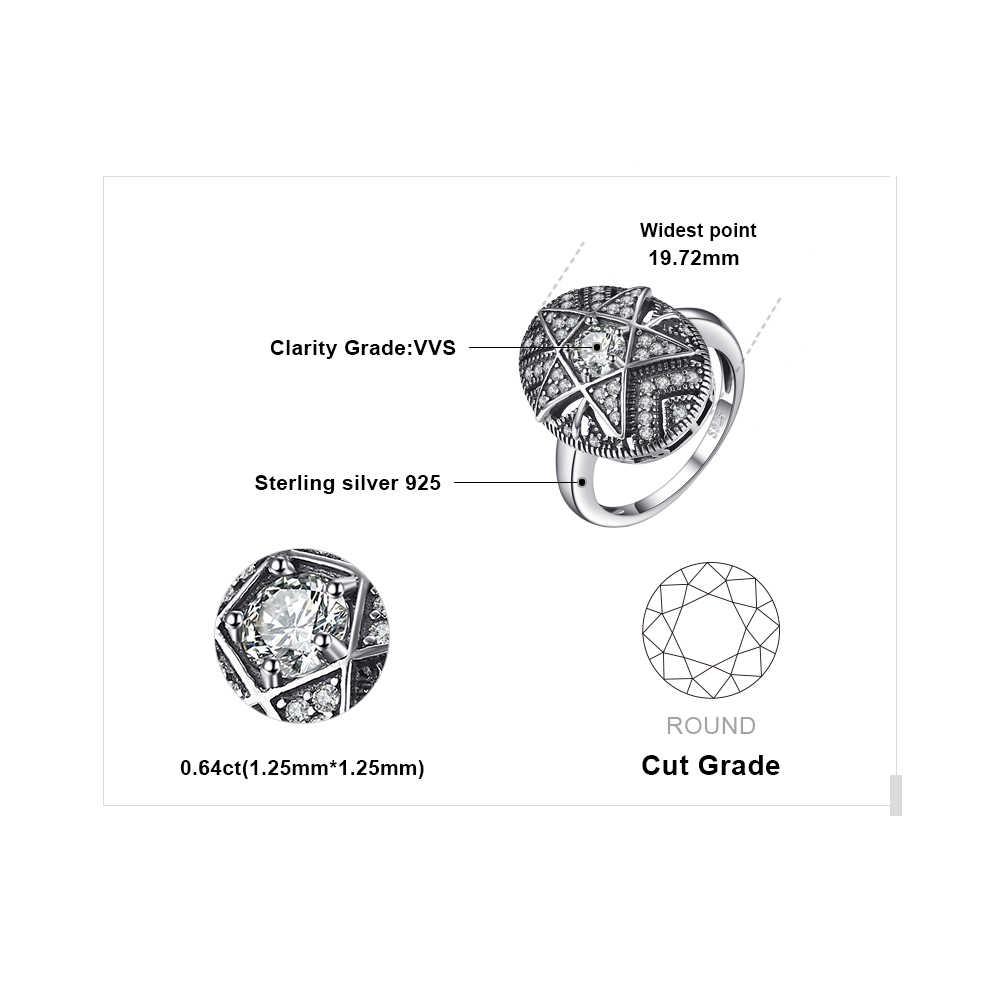 JewelryPalace Star 1.0CT Cubic Zirconia แหวน 925 เงินสเตอร์ลิงแหวนเงินผู้หญิงแฟชั่นของขวัญเครื่องประดับสำหรับแม่
