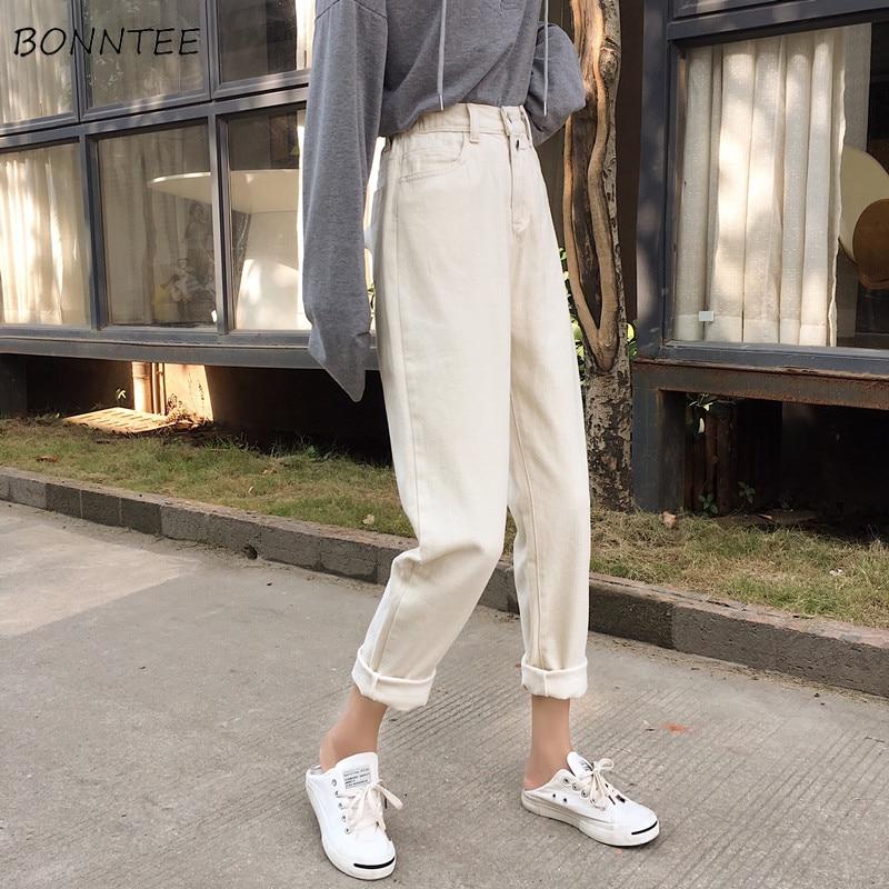Jeans Women Simple Straight Korean Style High Quality Ladies All-match Elegant Pockets Womens 2019 Spring Soft Zipper Harajuku