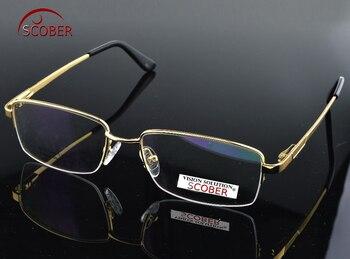 цена на = SCOBER = Titanium Alloy Semi-rim GOLD frame Commercial Custom Made Optical Prescription Myopia Glasses Photochromic -1 To -6