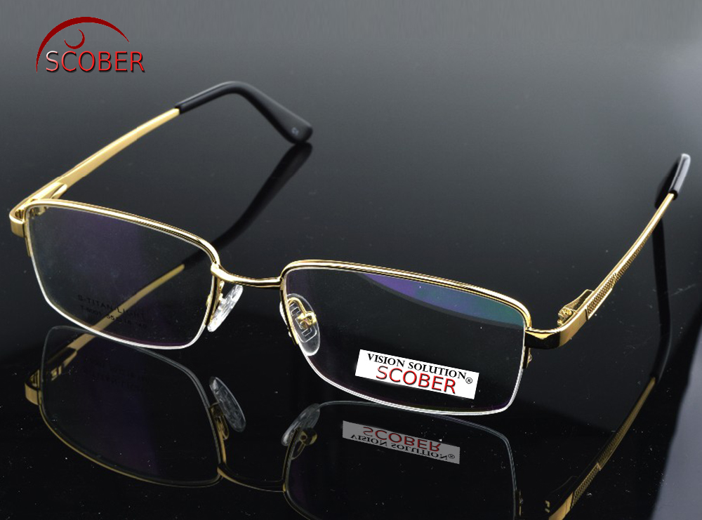 f019600d91 Detail Feedback Questions about   SCOBER   Titanium Alloy Semi rim GOLD  frame Commercial Custom Made Optical Prescription Myopia Glasses  Photochromic 1 To 6 ...