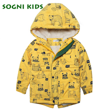 SOGNI KIDS Print Cartoon Hooded Faux Fur Coats Baby Boy Woven Winter Jackets 2016 New Fashion Zipper Coats for Children