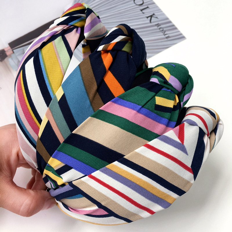 Korea Handmade New Fashion Rainbow Striped Knot Cloth Hairbands for Adult women Head wear Hair Accessories-SWAWHRB015C5