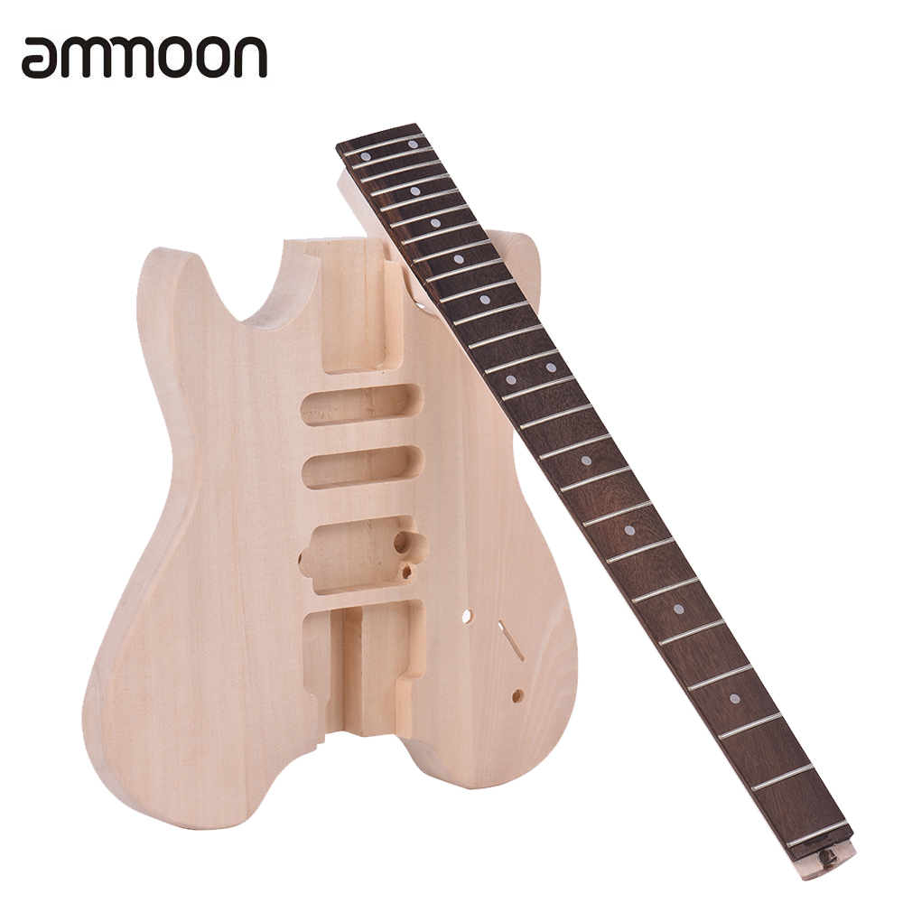 Unfinished Electric Guitar DIY Kit Set Basswood Body Rosewood Fingerboard Maple Neck Special Design Without Headstock