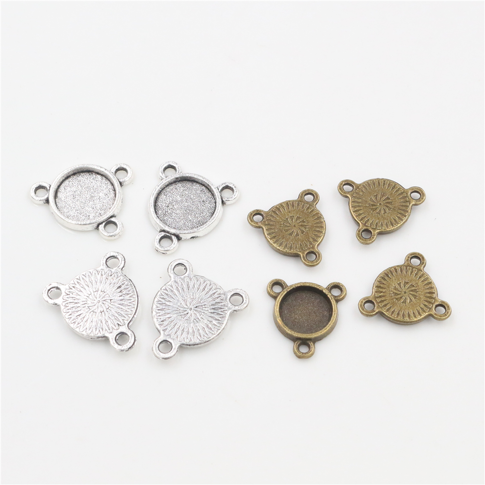 50pcs 8mm And 10 Mm Inner Size Antique Bronze And Silver Three Hanging Style Cabochon Base Cameo Setting Charms Pendant