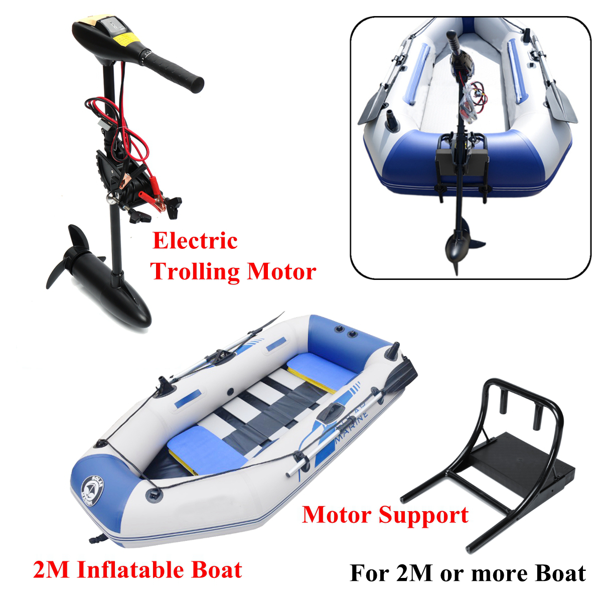 DC 12V 18/28/40/48/60/88LBS Electric Trolling Motor Inflatable Boat Outboard Engine+1.7/2m Inflatable Boat and Motor support electric outboard engine fishing boat propeller with outboard engine 12v 684w1750 rotationl speed dc motor