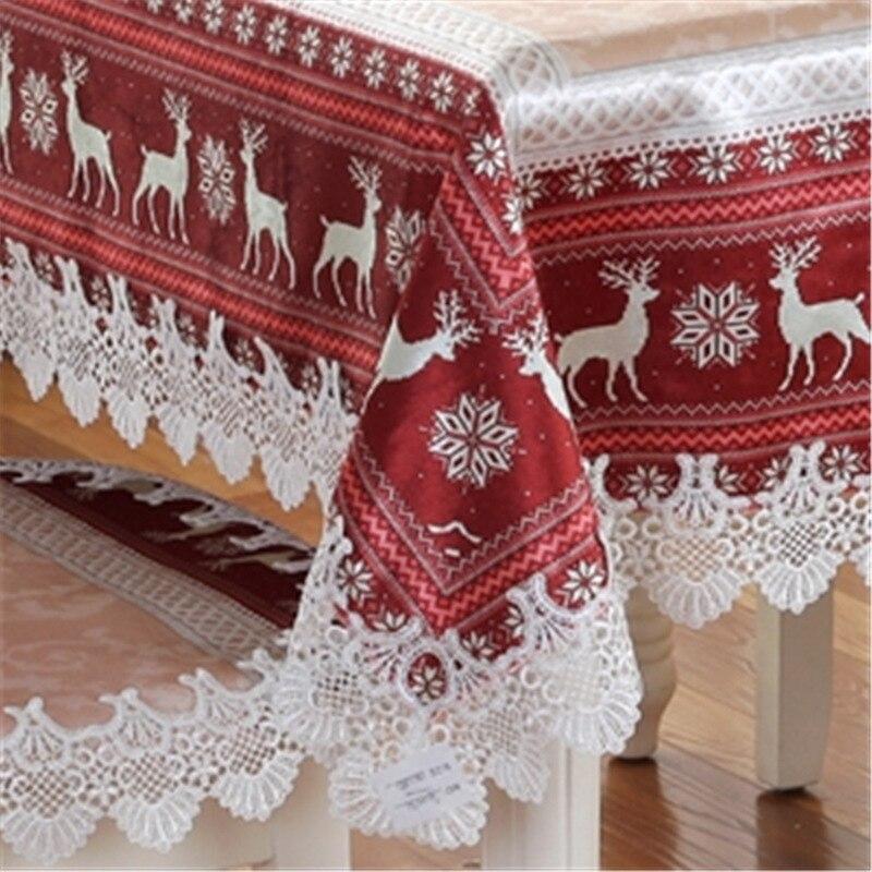 Blue Red Christmas Table Cloth European Style Goat Snow Cover Thanksgiving Tablecloth Manteles De Navidad Home Party Decor in Tablecloths from Home Garden