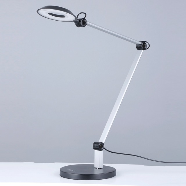 8W Halo LED Swing Arm Desk Lamp Architect Table Lamp With Round Weighted  Base 3 Brightness