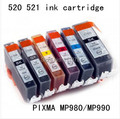 6 color Free shipping PGI 520BK CLI 521BK C M Y GY compatible ink cartridge For canon  PIXMA MP980 MP990 printers with ink