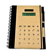Креативная многофункциональная катушка калькулятор записная книжка с ручкой слот Солнечная энергия блокнот Высокое качество Крафт-Бумага Обложка офис поставка