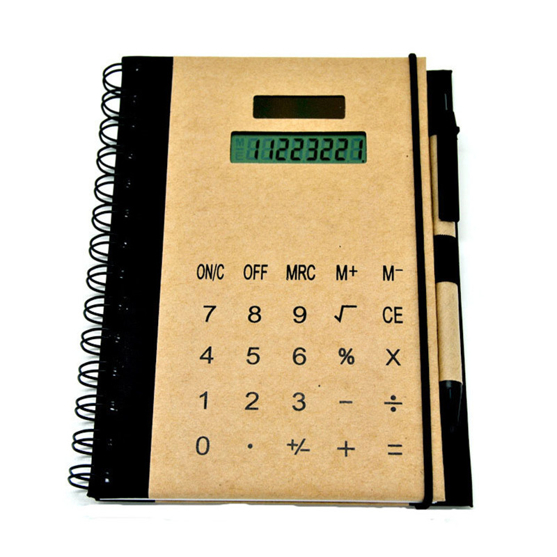 Creative Multifunction Coil Calculator Notebook With Pen Slot Solar Energy Notepad High Quality Kraft Paper Cover Office Supply