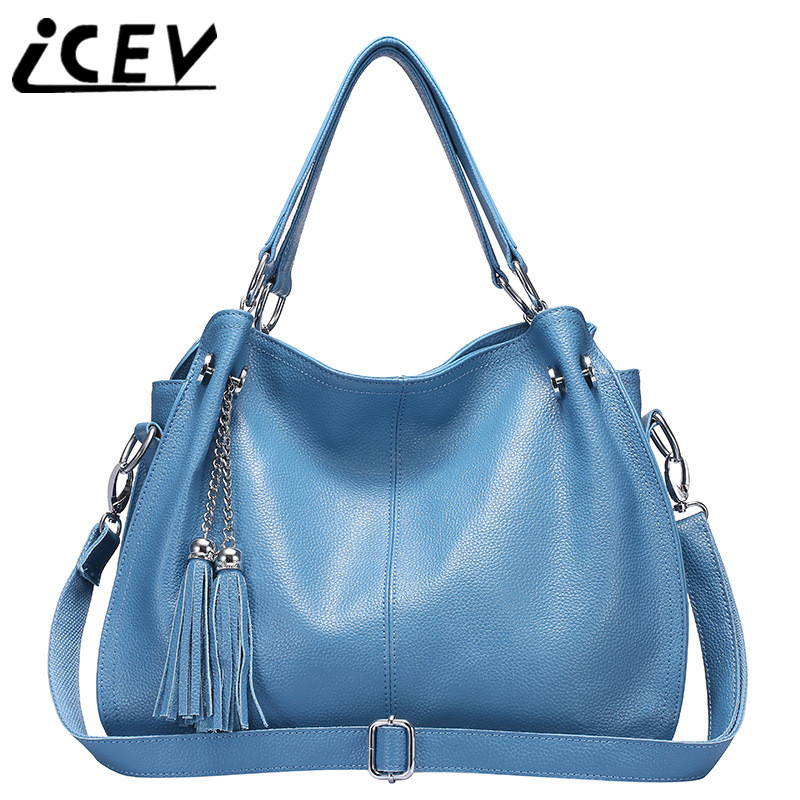 Casual Simple cowhide Tassel Designer Handbags High Quality Bags Handbags Women Famous Brands Women Leather Handbags Office Tote