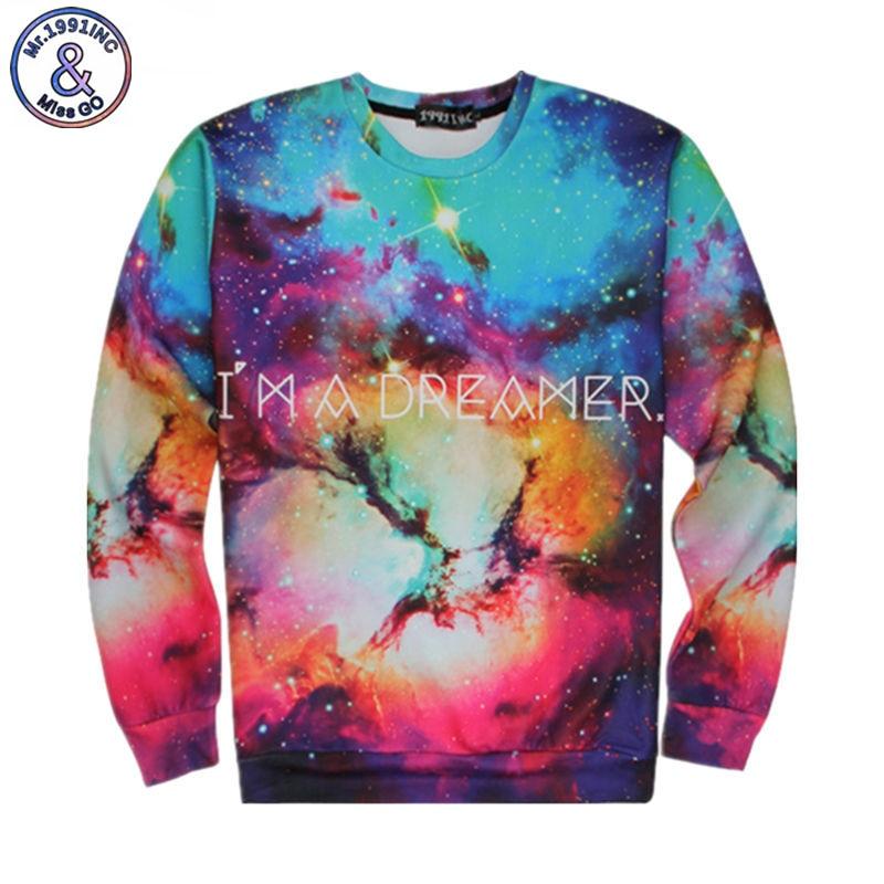 Harajuku Galaxy Space Hoodies I'M A DREAMER Letter Print Hiphop Sweatshirt Women Men Nebula 3D Sweats Jumper Outfits