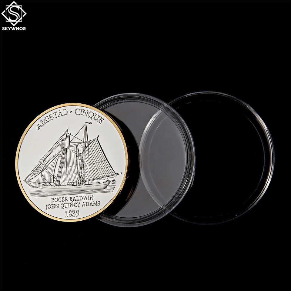 Bateau de l'amistad, la guerre civile américaine, pièce de collection, défi américain or et argent, anniversaire 1839