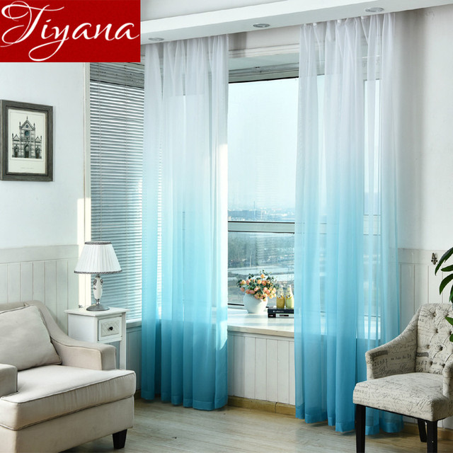 High Grade Gradient Color Sheer Voile Curtains Window Modern Living ...