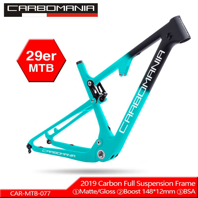 CARBOMANIA Full Suspension Carbon Mountain Bike Frame In Shock 165*38mm Travel 100mm Bicycle BOOST 148*12mm 29er MTB Frame 2019
