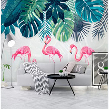 Custom wallpaper Nordic fresh and simple rainforest banana leaf flamingo garden wall high-grade waterproof material