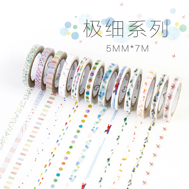 New 12Style Cute Watercolor Painting Plants Decorative Masking Washi Tape DIY Scrapbooking Sticker Label  School Office Supply