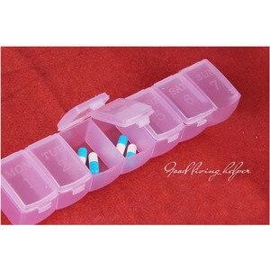 Image 5 - 휴대용 알 약 상자 7 긴 스트립 투명 알 약 상자 7 구획 저장소 상자 주 알 약 다기능 가정용 제품 qw104