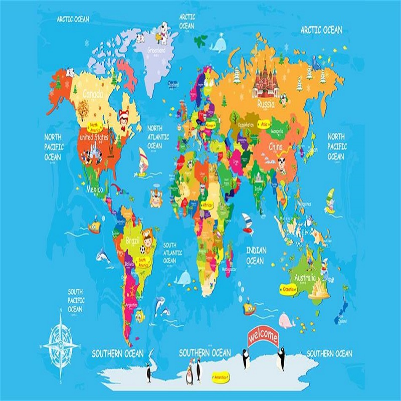 The world map custom wallpaper wall large mural 3D wall paper photo room kids baby bedroom cartoon wall covering TV sofa back