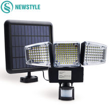 188 LED de luz Solar Sensor de movimiento de luz de inundación al aire libre jardín lámpara de Camping impermeable lámpara Solar de emergencia noche luz de seguridad