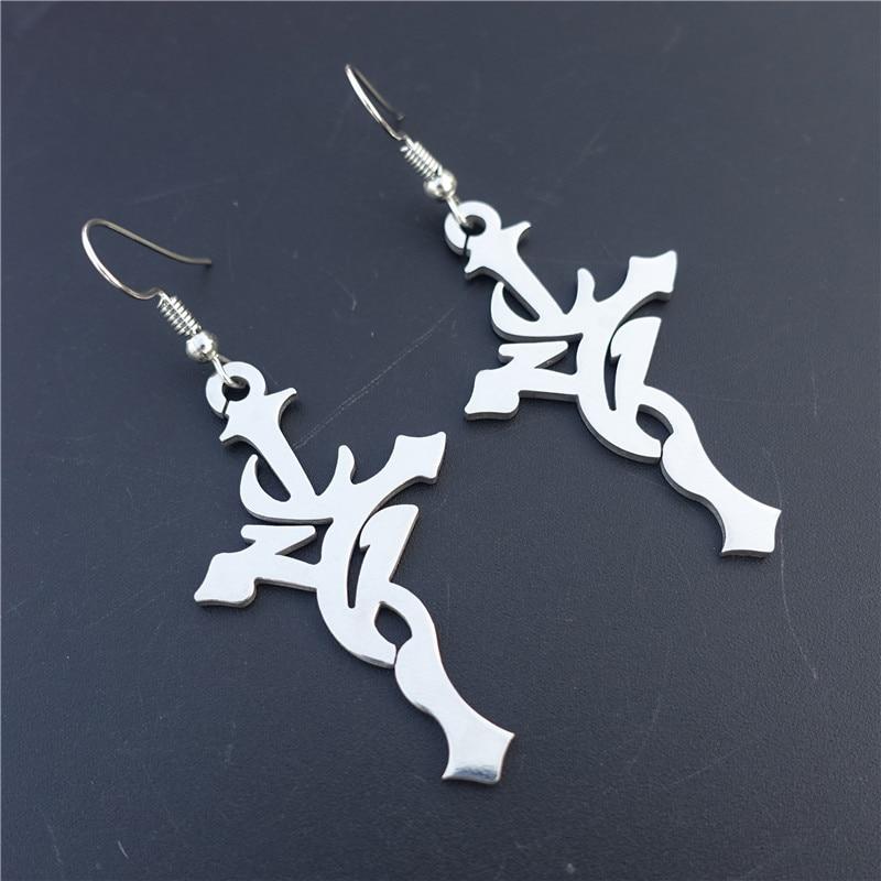 Stainless Steel Earrings Cross Gothic Flame Earring Women Jewelry