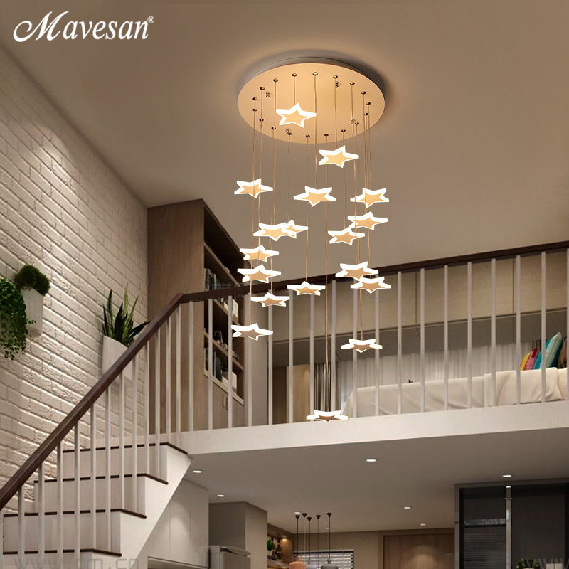 Modern lustre Pendant Lights Moon and star metal For Corrider Restaurant meal bar table lamp fixture lights suspension stairway metal moon and star shap cuff ring