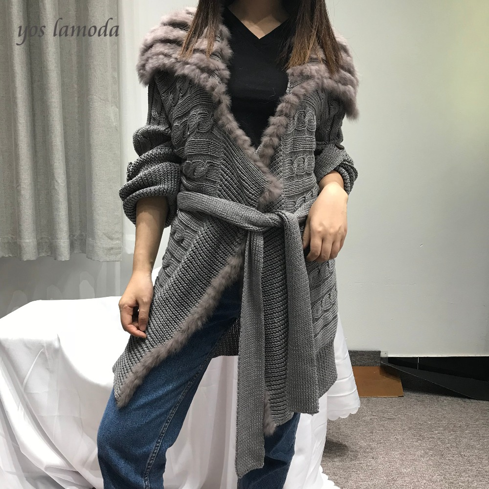 Coat Knitted Warm Autumn Winter Fashion Women's Thick Medium Slim Collar Fur Sashes