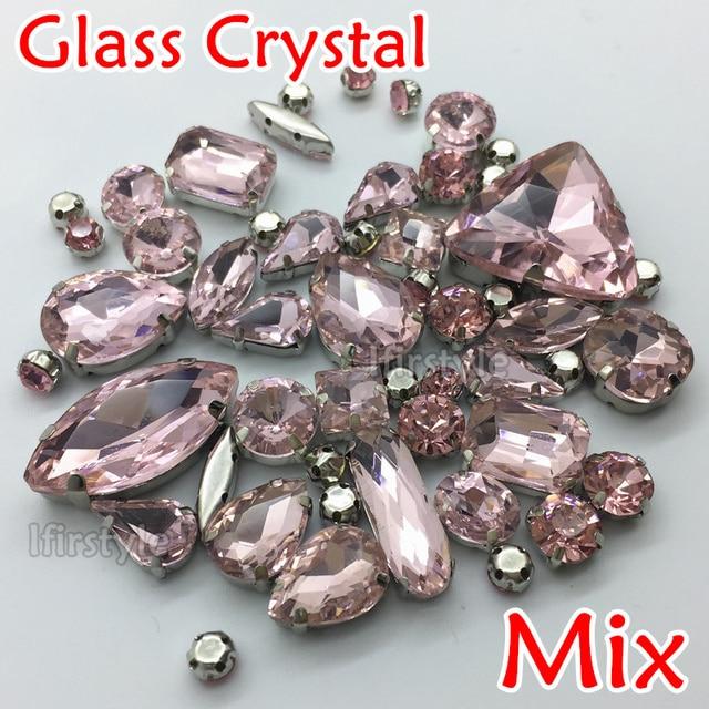 Mix Sizes Shapes Lt Rose Hot Pink Color 49pcs Bag Sew On Gl Crystal