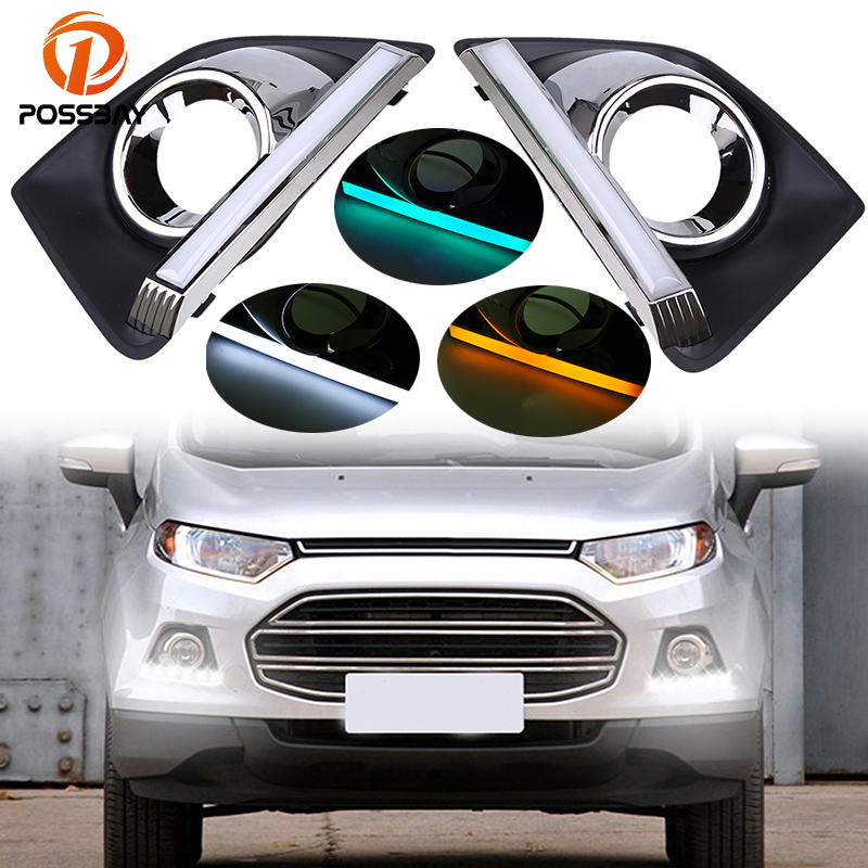 POSSBAY led Daytime Running Light pour Ford EcoSport MK2 2013-2016 Pré-lifting 12 V Brouillard Lampe Blanc jaune Bleu Turn feux de signalisation
