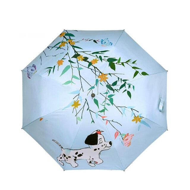 Милая собака мультяшная иллюстрация три складной зонтик ветростойкая рамка для женщин карманные зонты-карандаши