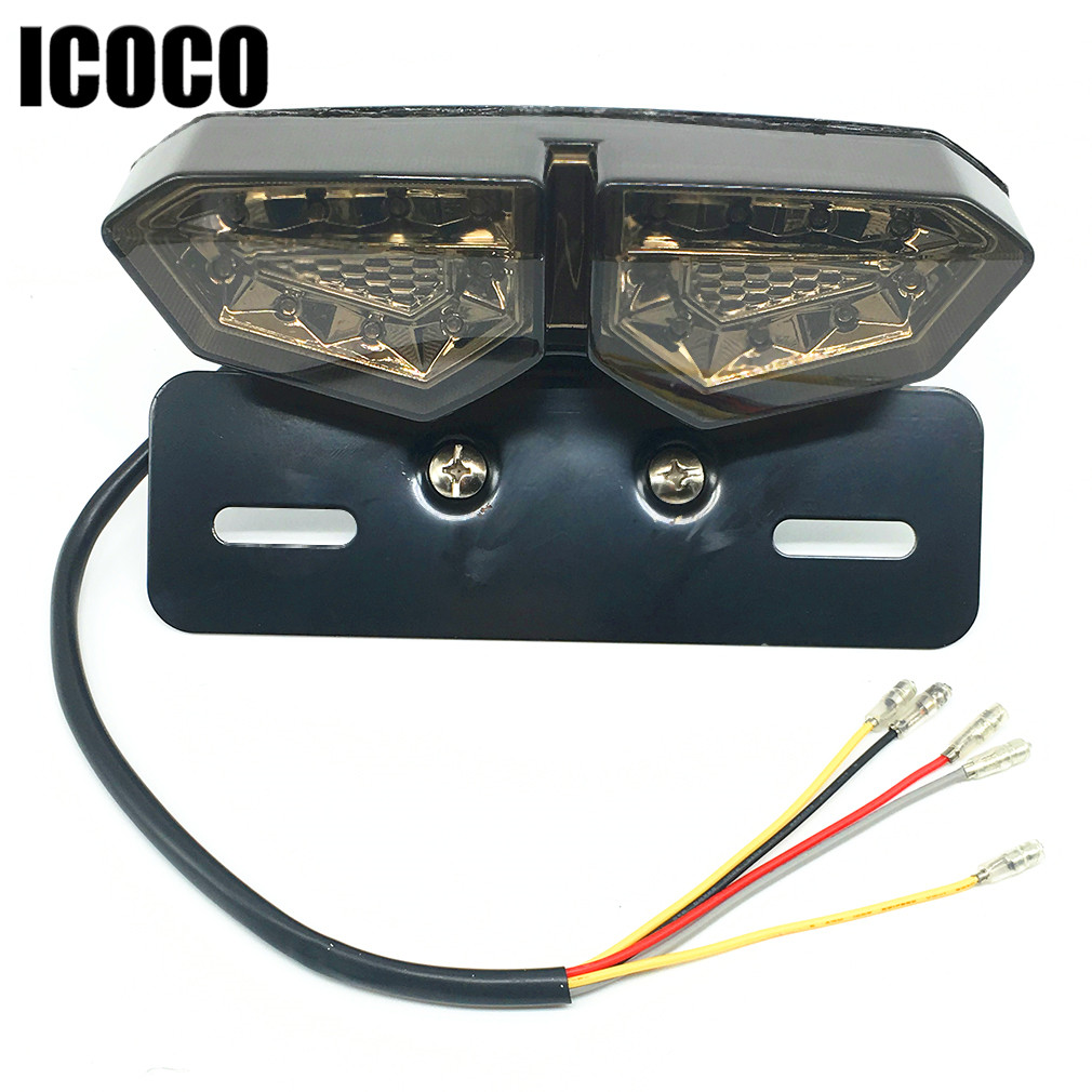 ICOCO Motorcycle 12V LED Tail Light Turn Signal Rear Brake License Plate Light Motorcycle Rear Turn Indicators Accessories universal flexible strip motorcycle light strip led amber tail brake stop turn signal light license plate lamp decoration