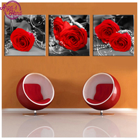 3 Pieces Red Black and White Rose Flower home decoration,5D Diamond Painting,Cross Stitch,3D,Diamond Mosaic,Diamond Embroidery