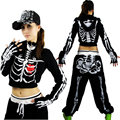 Women Hip Hop Dance Jazz Skeleton Jacket Crop Top With chaquetas de esqueleto Skull Hooded  Short Coat