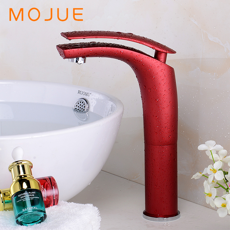 MOJUE Bathroom Faucet Basin Faucet Water Tap Multicolor Handle Hot And Cold Water Sink Tap Mixer Single Handle MJ8265 modern bathroom products chrome finished hot and cold basin faucet mixer single handle water tap