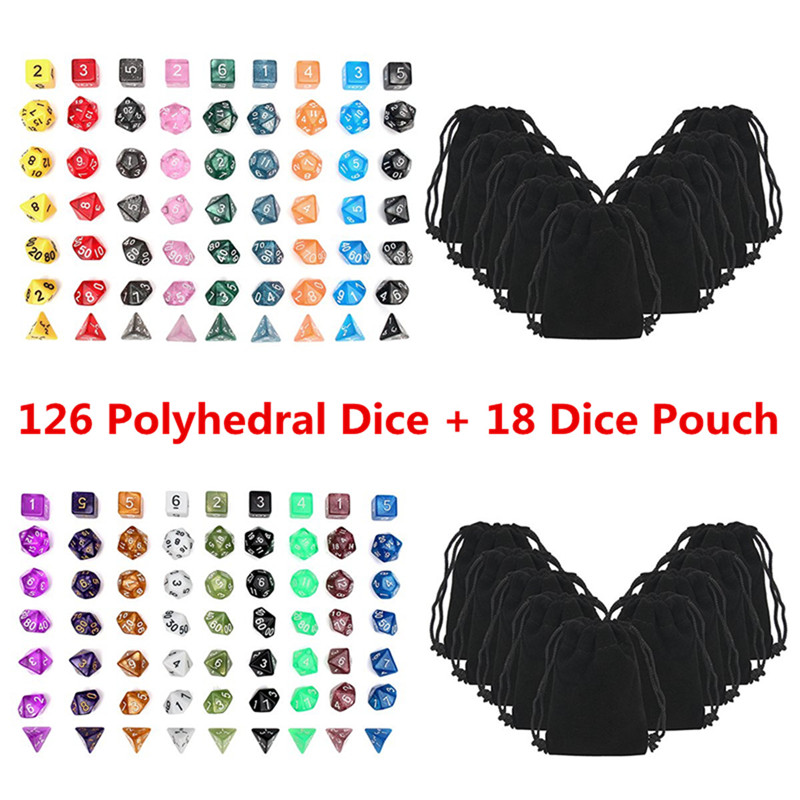 126Pcs Polyhedral Dice Set +18 pouch D4-D20 Dragons Dices DND RPG MTG Table Games Dice Multi Sided Games Dice 18 Set Top Quality