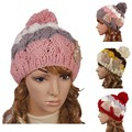 Women's Girl Winter Baggy Beanie Knit Crochet Ski Hat slouch Cap H1011