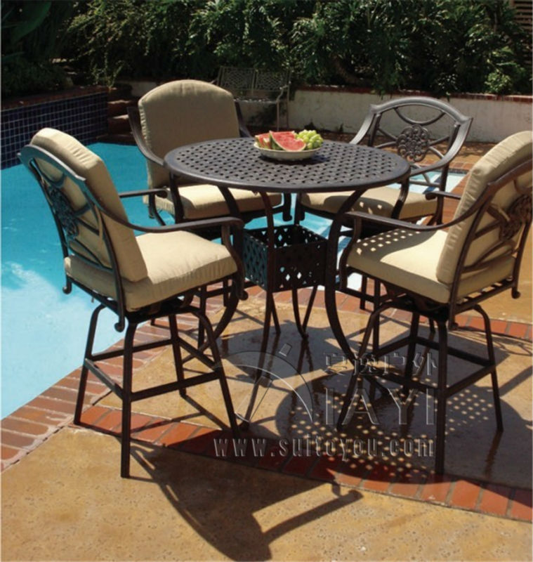 5 piece bar table and chair cast aluminum patio furniture for Metal patio table and 4 chairs